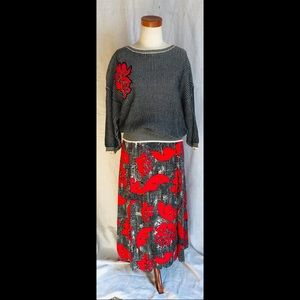 VNTG 80s Evan Picone Graphic Pop Sweater Skirt Set